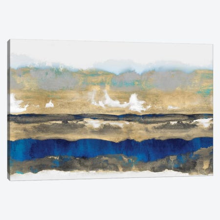 Strata In Blue & Gold Canvas Print #SPR29} by Rachel Springer Canvas Art