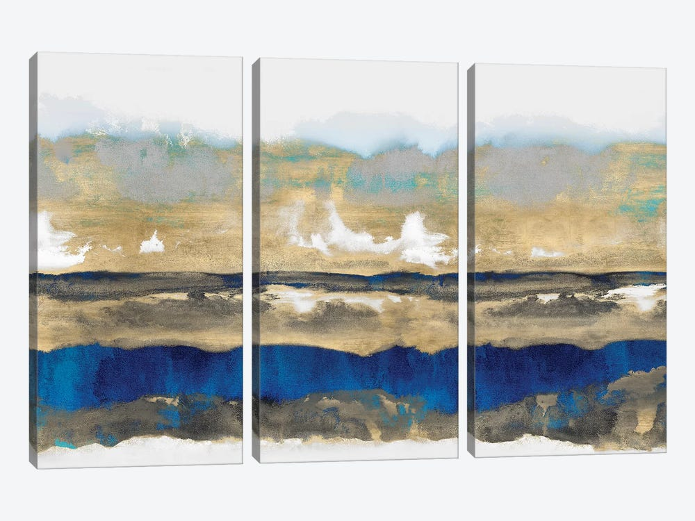 Strata In Blue & Gold 3-piece Art Print