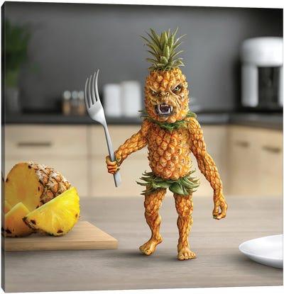 Tiny Kitchen Monster: Pineapple Canvas Art Print