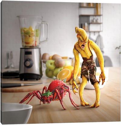 Tiny Kitchen Monster: Banana + Strawberry Canvas Art Print