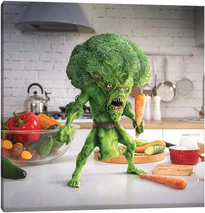 Tiny Kitchen Monster: Broccoli Canvas Art Print