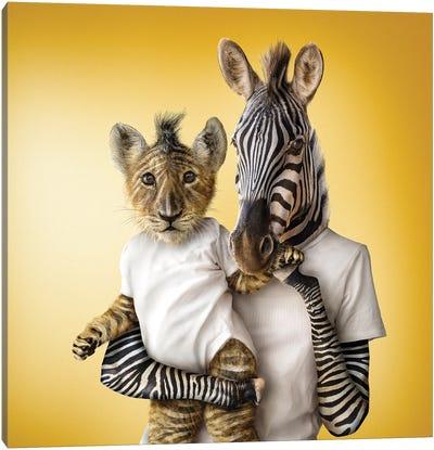 Lioncub & Zebra Canvas Art Print