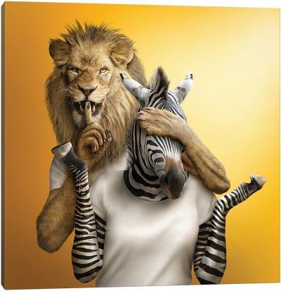 Lion & Zebra Canvas Art Print