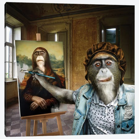 Leonardo Da Monkey Canvas Print #SPS33} by spielsinn design Canvas Art