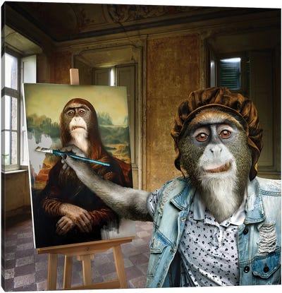 Leonardo Da Monkey Canvas Art Print