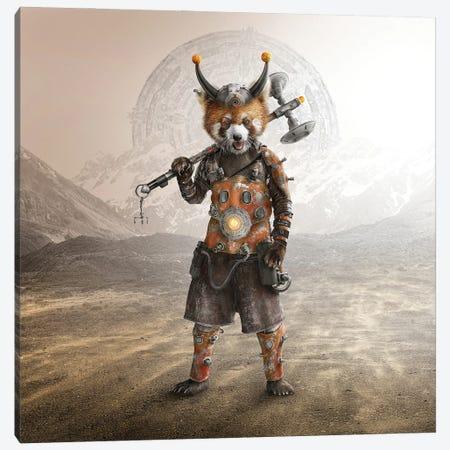 Red Panda Warrior Canvas Print #SPS35} by spielsinn design Art Print