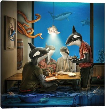 Whale Pub Canvas Art Print