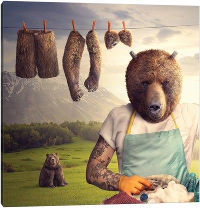 Washing Bear Canvas Art Print