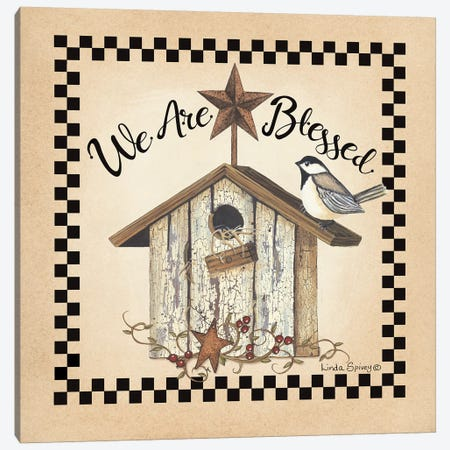 We Are Blessed Birdhouse Canvas Print #SPV26} by Linda Spivey Canvas Print