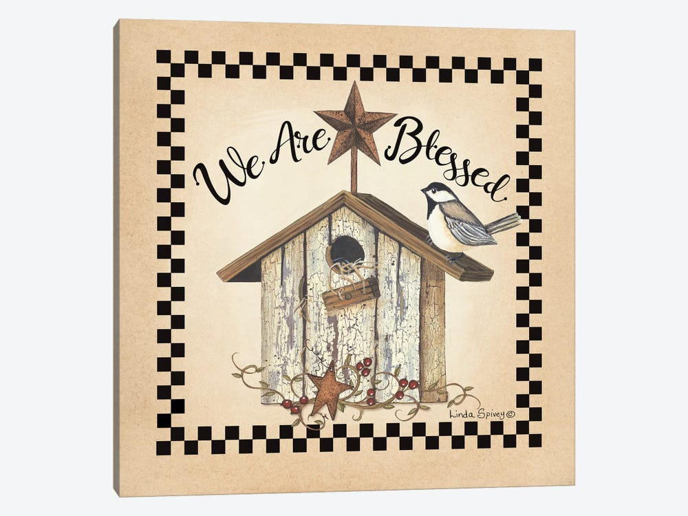 We Are Blessed Birdhouse by Linda Spivey 1-piece Art Print