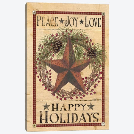 Happy Holiday Barn Star I Canvas Print #SPV2} by Linda Spivey Canvas Art Print