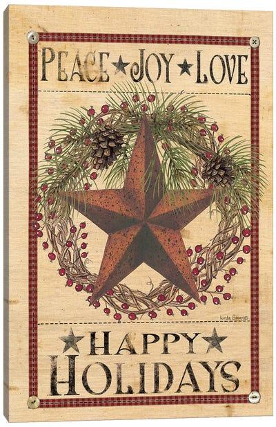 Happy Holiday Barn Star I Canvas Art Print