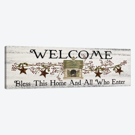 Bless This Home And All Who Enter Canvas Print #SPV34} by Linda Spivey Canvas Wall Art