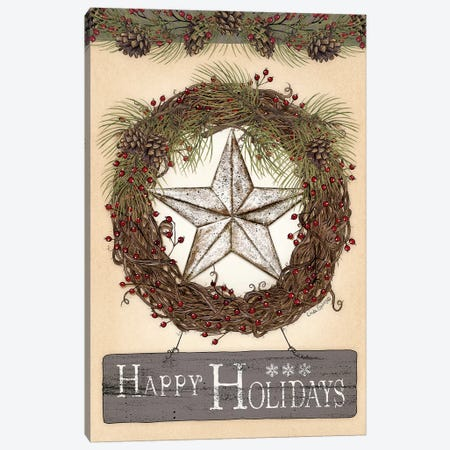 Happy Holidays Barn Star II Canvas Print #SPV3} by Linda Spivey Art Print