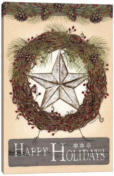 Happy Holidays Barn Star II Canvas Art Print