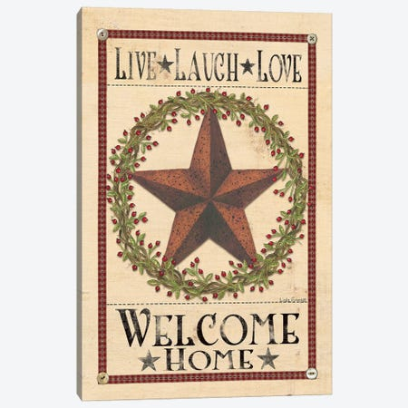 Welcome Home Barn Star Canvas Print #SPV4} by Linda Spivey Canvas Artwork