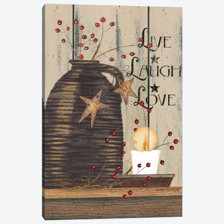 Live Laugh Love Canvas Print #SPV8} by Linda Spivey Canvas Art Print