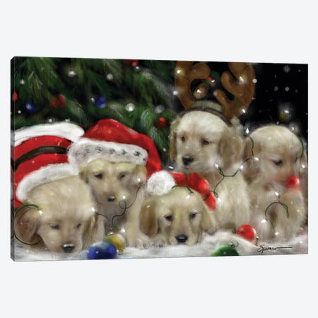 Retriever Christmas Canvas Print #SPW218} by Mary Sparrow Canvas Print