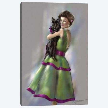 Scottie Love Canvas Print #SPW225} by Mary Sparrow Art Print
