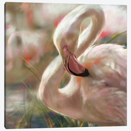 Sunset Flamingo Canvas Print #SPW288} by Mary Sparrow Canvas Wall Art