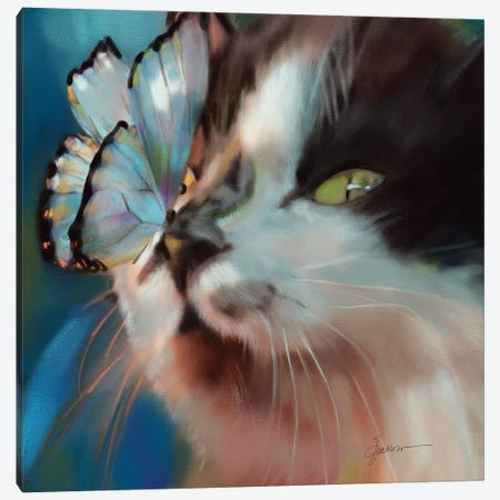 Butterfly Kisses Canvas Print #SPW317} by Mary Sparrow Canvas Art Print