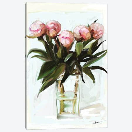 Budding Peonies Canvas Print #SPW319} by Mary Sparrow Canvas Artwork
