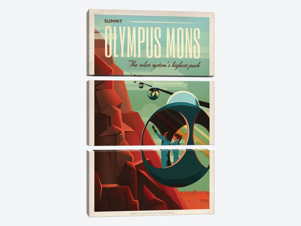 Olympus Mons Space Travel Poster by SpaceX 3-piece Canvas Print