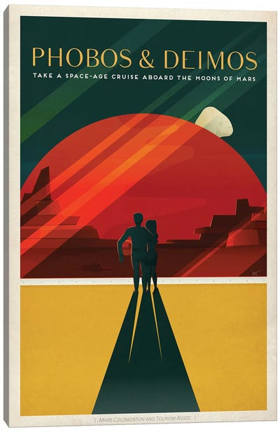 Phobos & Deimos Space Travel Poster Canvas Art Print