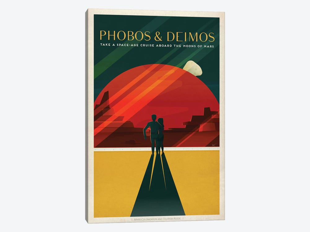 Phobos & Deimos Space Travel Poster by SpaceX 1-piece Canvas Art