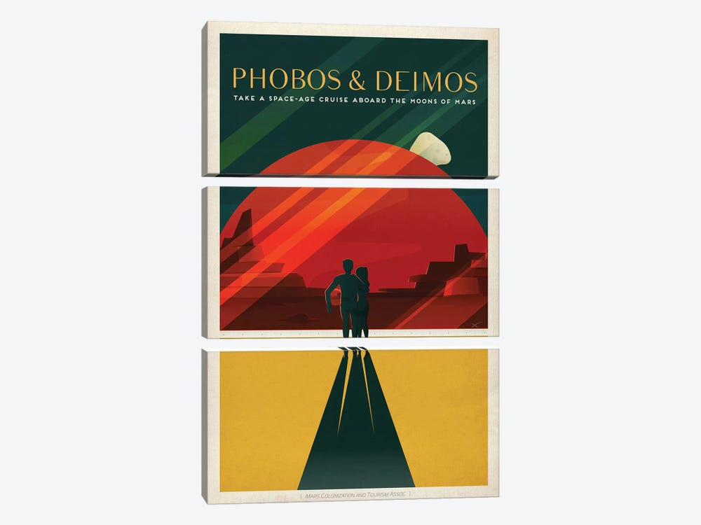 Phobos & Deimos Space Travel Poster by SpaceX 3-piece Canvas Wall Art