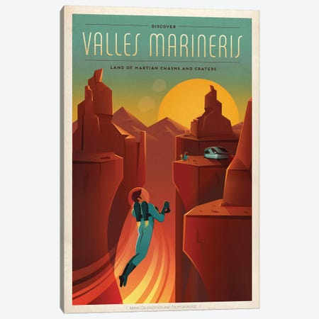 Valles Marineris Space Travel Poster Canvas Print #SPX3} by SpaceX Canvas Print