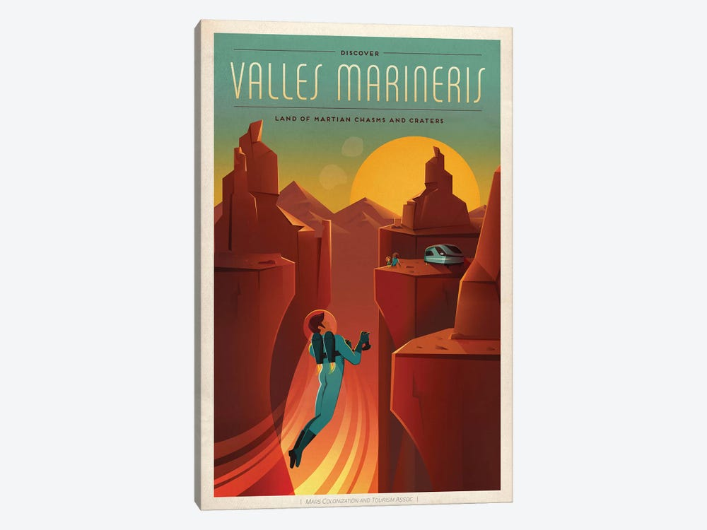 Valles Marineris Space Travel Poster by SpaceX 1-piece Art Print