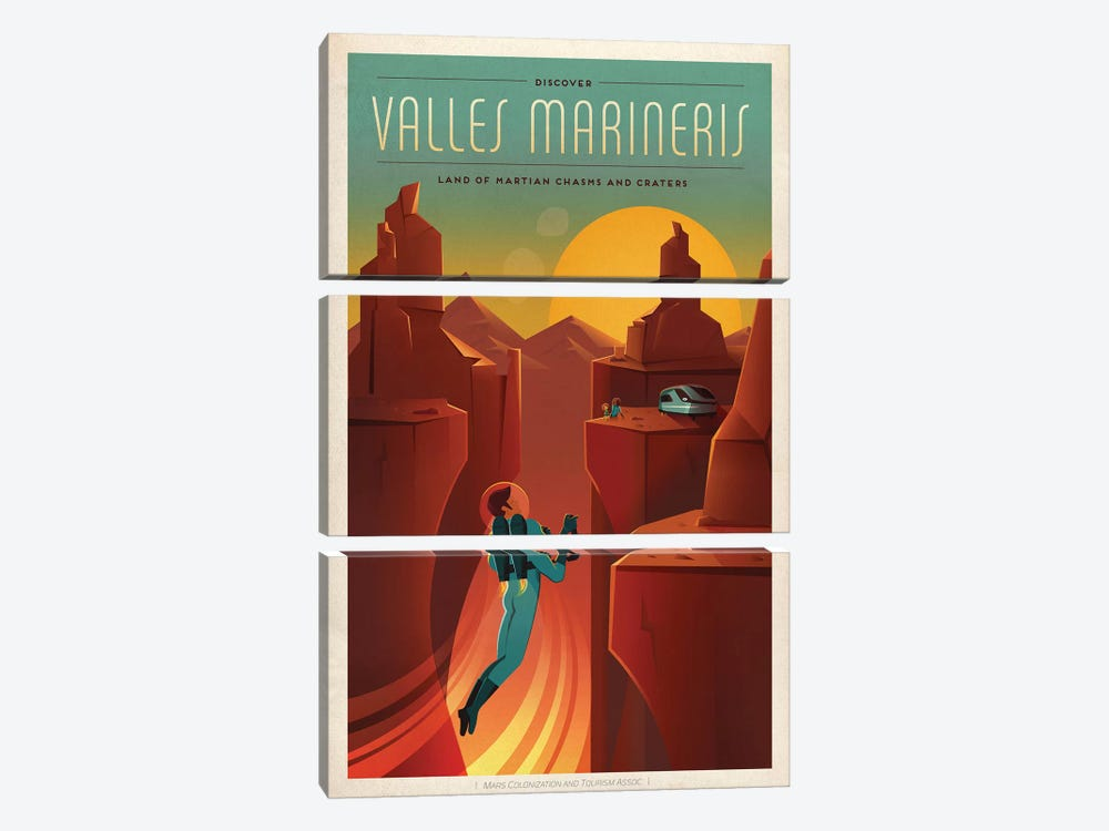 Valles Marineris Space Travel Poster by SpaceX 3-piece Canvas Art Print