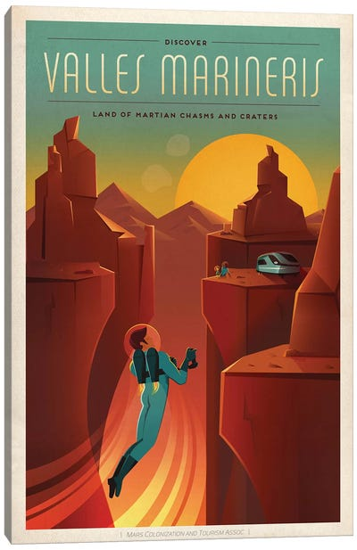 Valles Marineris Space Travel Poster Canvas Art Print