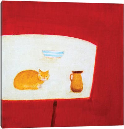 Still Life With Cat Canvas Art Print