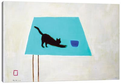 Cat On Table Canvas Art Print