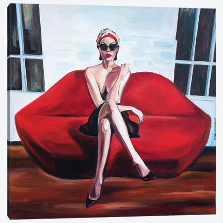 Red Sofa Canvas Print #SRB50} by Sasha Robinson Canvas Art