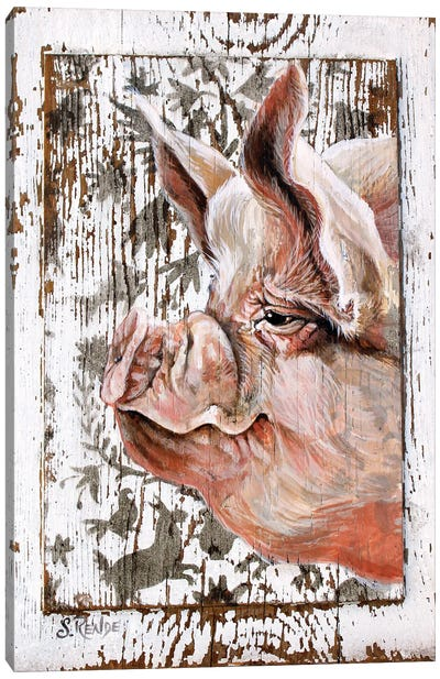 Happy Pig Canvas Art Print