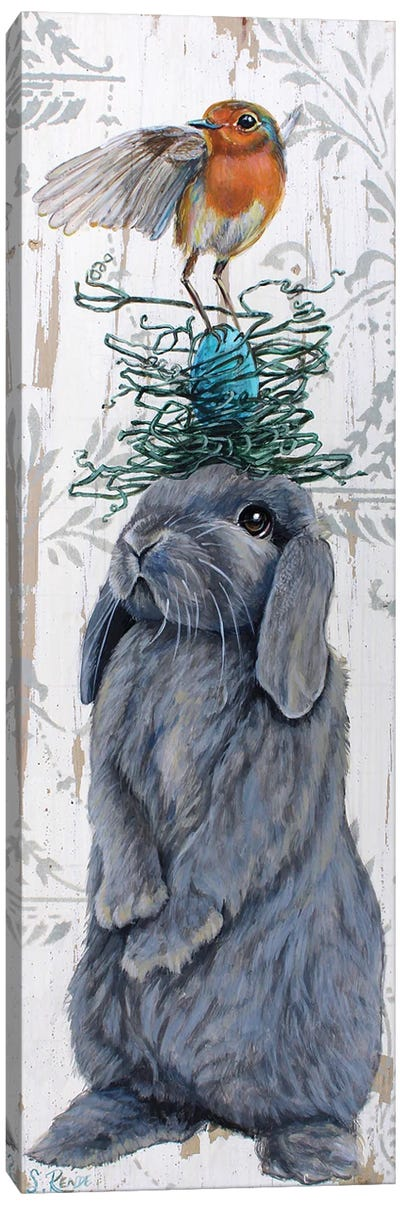 Bird Nest Hare Canvas Art Print