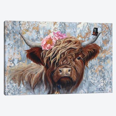 Hippie Cow Canvas Print #SRD3} by Suzanne Rende Canvas Art