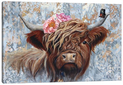 Hippie Cow Canvas Art Print