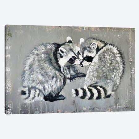Two Raccoons Canvas Print #SRE16} by Suzi Redman Canvas Artwork