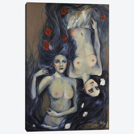 Lay My Head Beneath a Rose 3-Piece Canvas #SRI41} by Sara Riches Canvas Artwork