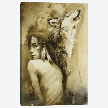 She Wolf Canvas Print #SRI62} by Sara Riches Canvas Artwork