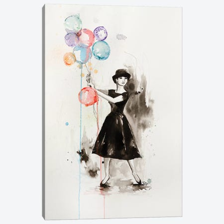 Audrey Hepburn Funny Face Canvas Print #SRI76} by Sara Riches Canvas Wall Art
