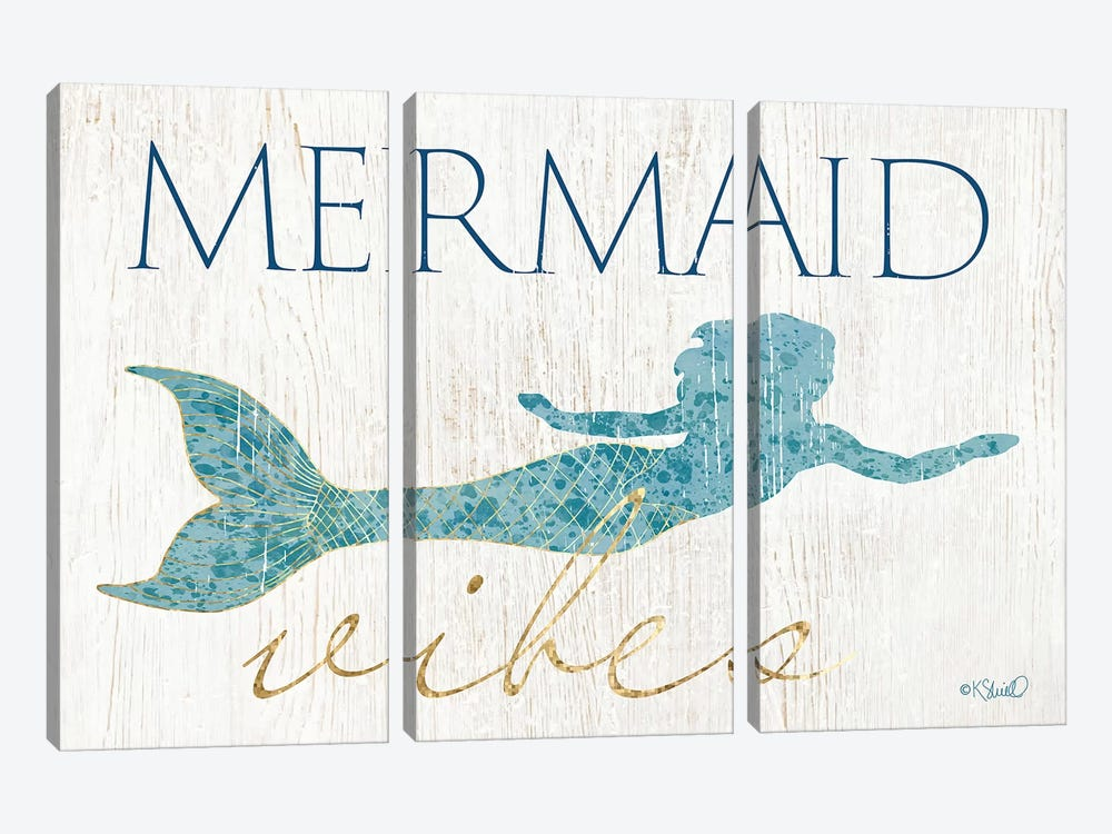 Mermaid Wishes by Kate Sherrill 3-piece Canvas Art Print