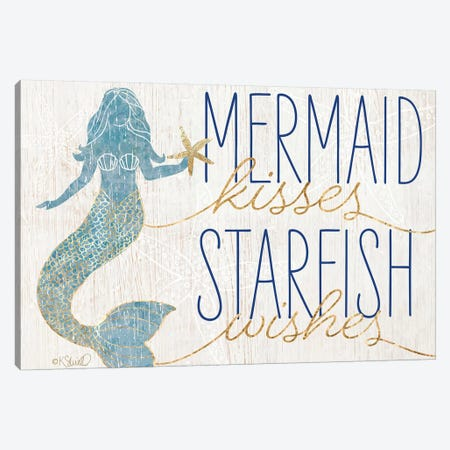 Mermaid Kisses Starfish Wishes Canvas Print #SRL22} by Kate Sherrill Art Print