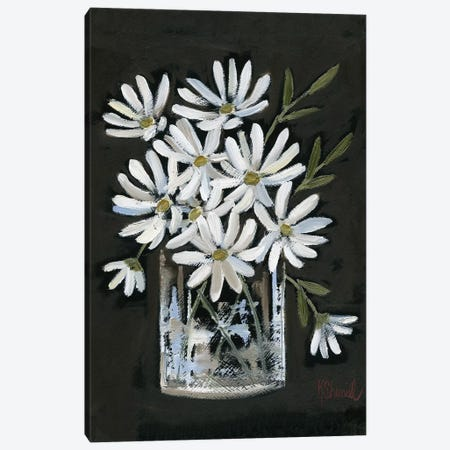 Daisies on Black Canvas Print #SRL27} by Kate Sherrill Canvas Wall Art