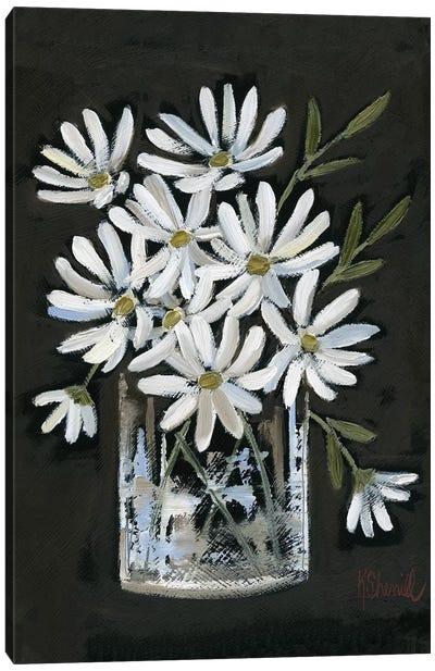 Daisies on Black Canvas Art Print