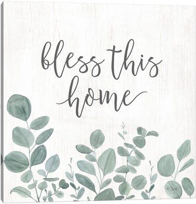 Bless This Home Eucalyptus Canvas Art Print